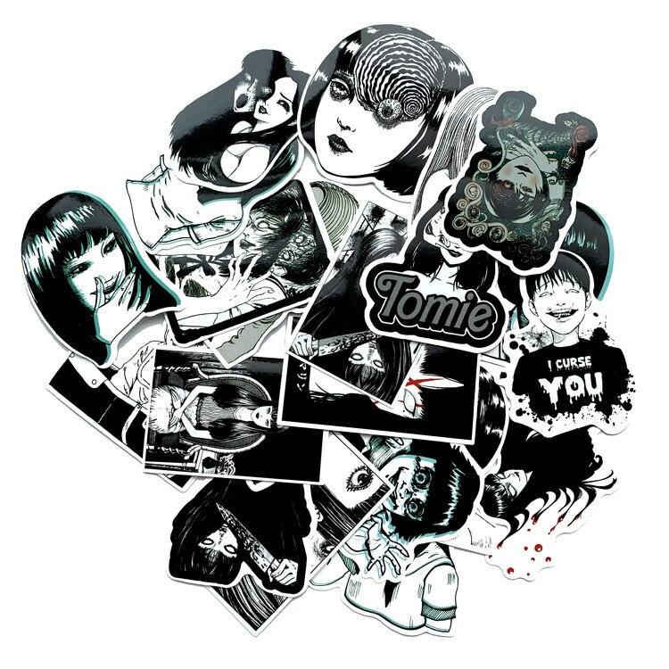 21 pièces/lot fantôme histoire kréveil ami Tomie autocollants pour moto Skateboard réfrigérateur bagages ordinateur portable dessin animé autocollants
