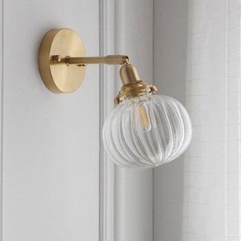 Jane wall lamp sitting room bedroom dining-room corridors aisle wall lamp Japanese brass pumpkin glass wall lamp