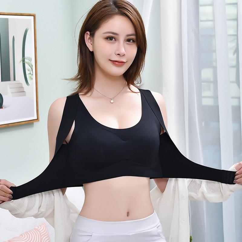 1 pz/2 pz/3 pz reggiseni donna per le donne reggiseno Push Up correttore postura Bralette chiusura frontale biancheria intima femminile croce indietro top 2