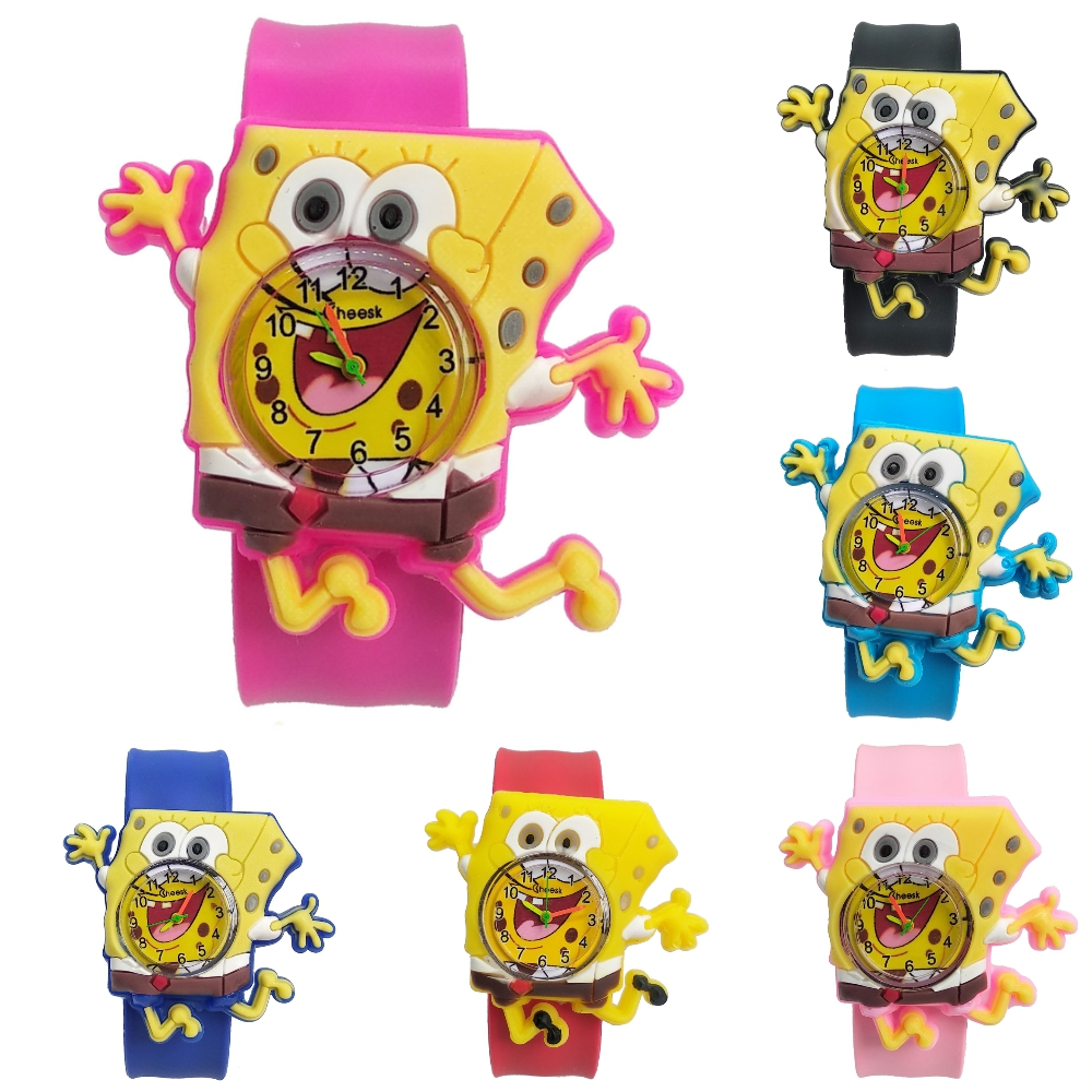 Can Bend Pink Strap SpongeBob Children Watch Soft Silicone Black Band Kids Watches Student Boys Girls Clock Child Quartz Watch