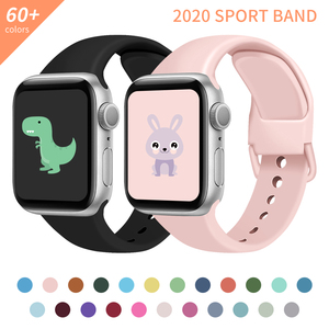 Strap For Apple Watch band 38mm 42mm iWatch Accessories Sport wristband Silicone bracelet Apple watch serie 3 4 5 SE 6 40mm 44mm
