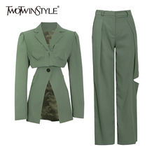 TWOTWINSTYLE Solid Two Piece Set For Women Notched Long Sleeve Hollow Out Blazers High Waist Straight Pants Casual Sets Female