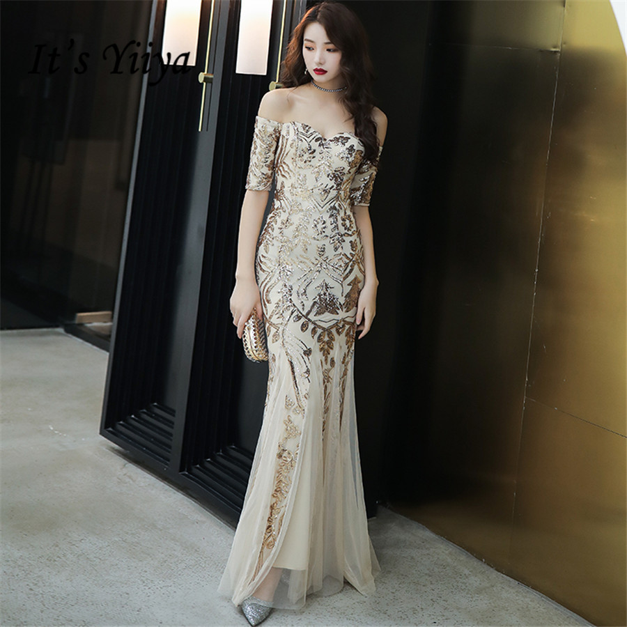 It's Yiiya Evening Dress Long Mermaid Boat Nekc Formal Dress Off Shoulder Evening Gown E1350 Plus Size Sequins Robe De Soiree