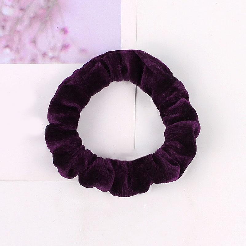 1 шт., женское эластичное кольцо для волос, зимние мягкие бархатные резинки, резинки для волос, милые одноцветные аксессуары для волос, держатель для конского хвоста - Цвет: Velvet-3