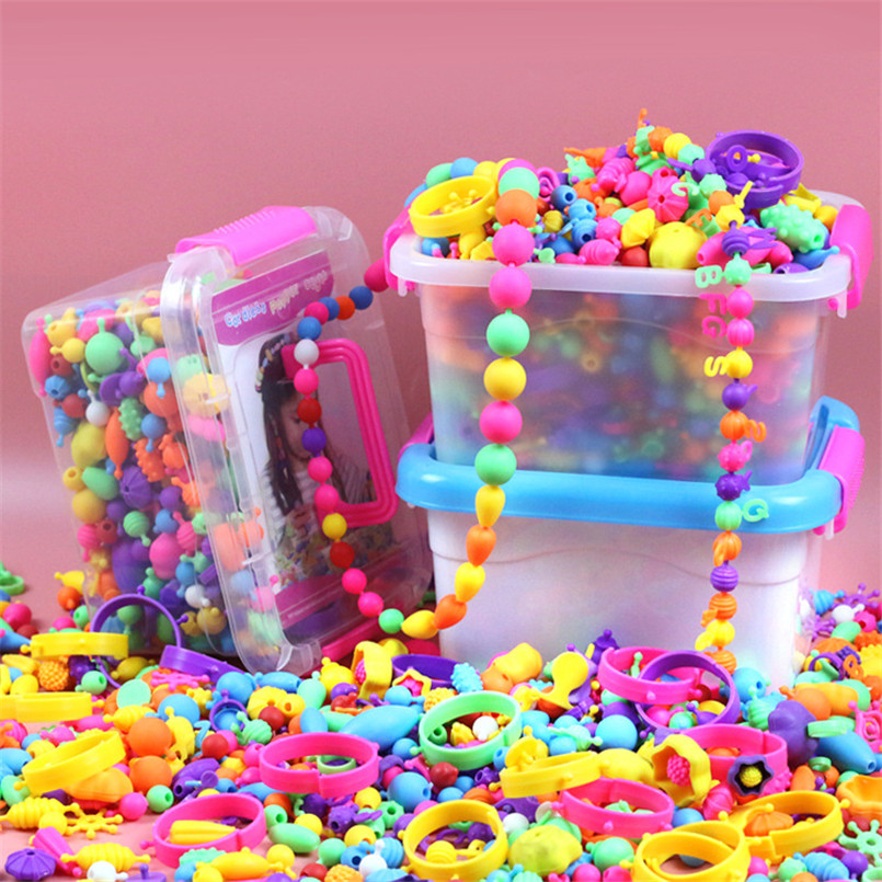 500PCS Girls Colorful Pop Snap Beads DIY Toys Set Storage Box Arts Crafts Wear Bracelet Necklace Jewelry String Kindergarten Toy