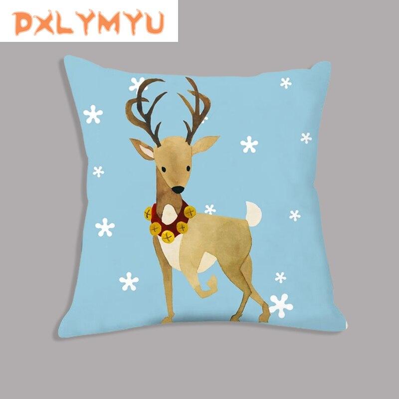 Throw Pillow Christmas Decorative Pillows Snowman Fox Deer Print Velvet Cushion For Sofa Home Decor Xmas Decoration