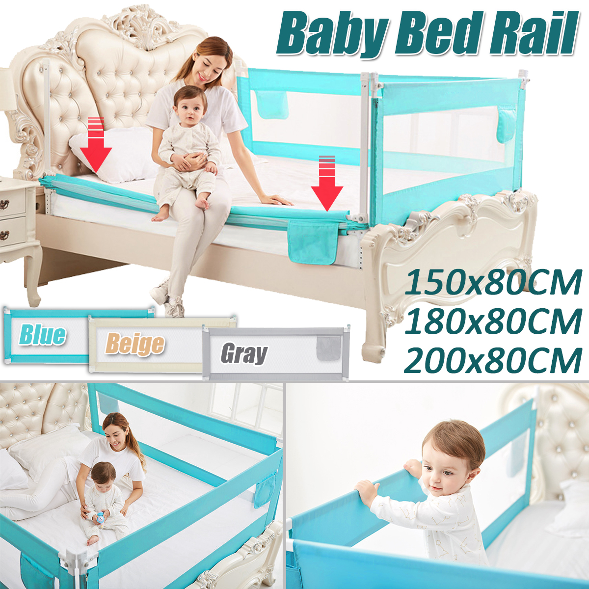 Bed Safety Rail Baby Bed Rail Baby Bed Bumper Fence Safety Gate Child Barrier ForToddler Bed Guard 150cm Adjustable Folding GIFT