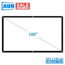AUN 100 אינץ 16:9 נייד מקרן מסך. לבן בד חומר. LED מקרן קולנוע ביתי B100
