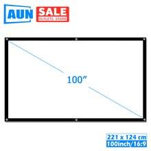 AUN 100 cal 16:9 przenośny ekran projekcyjny. Biała tkanina materiał. Projektor LED kina domowego B100