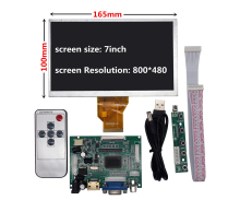 цена на 7 inch for Raspberry Pi Banana/Orange Pi mini computer LCD Screen Display Monitor Remote Driver Control Board 2AV HDMI VGA