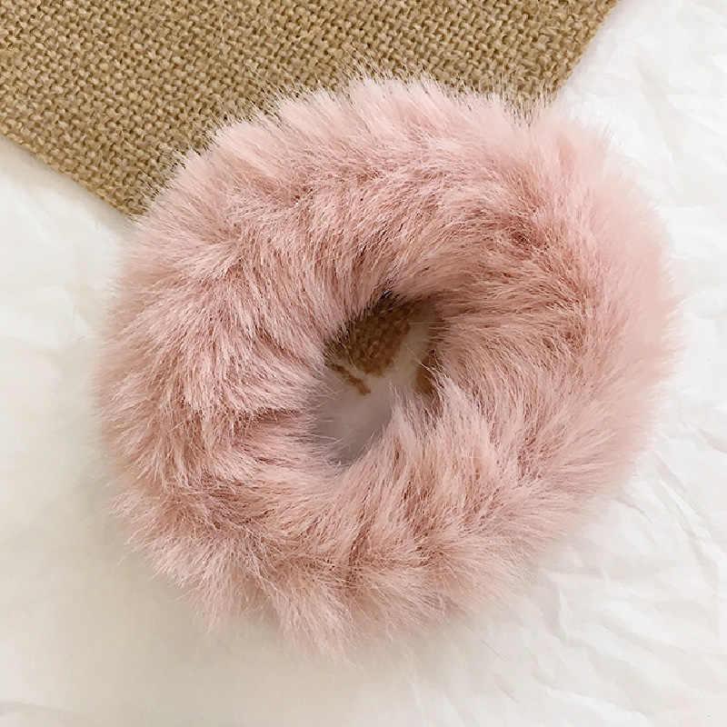 אופנה פלאפי פו פרווה פרוותי גומיית אלסטי מוצק שיער טבעת חבל להקת עניבת עגול בנות צהוב אדום ירוק קוקו קטיפה שיער