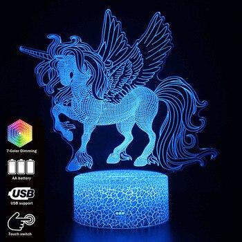 Original de dibujos animados Unicon figura de acción lámpara de decoración de la habitación de los niños Arco Iris modelado de caballos luces de noche regalo creativo juguetes MY1238