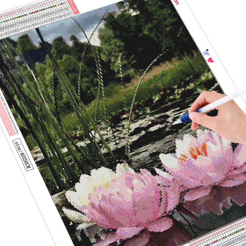 Huacan ダイヤモンド刺繍花蓮フルディスプレイ 5D diy クロスステッチラインストーンフル平方ダイヤモンド塗装装飾ホームギフト