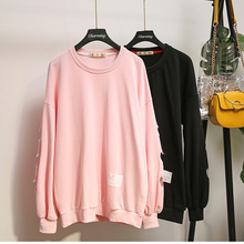 4XL Plus Size Autumn Hollow Out Women Sweatshirt Winter Casual Long Sleeve Pullover Tracksuits Large Loose Tops