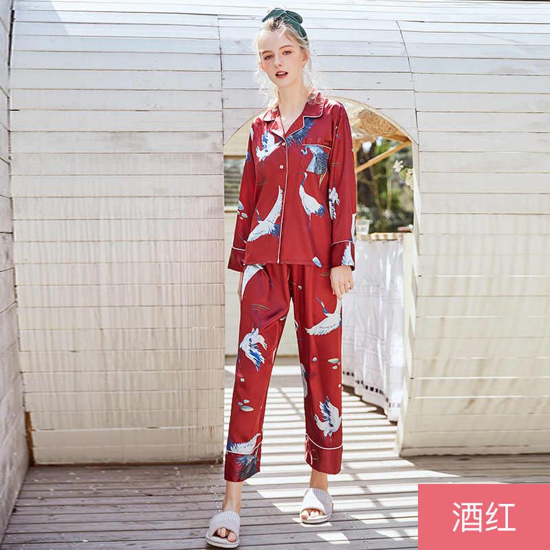 Темно-красная Весенняя женская рубашка, брюки, костюм, халат, комплекты для сна, повседневный топ с длинными рукавами, пижамы, женская домашняя ночная рубашка