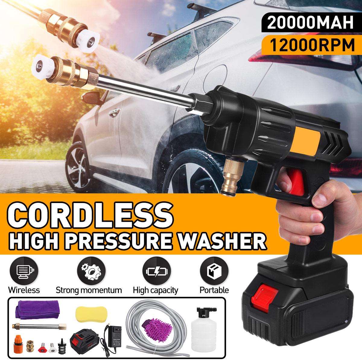 Car Washer Spray High Pressure Wireless Cordless Washer Water Cleaner Car Wash Pressure Water Nozzle Cleaning Machine Home 300W