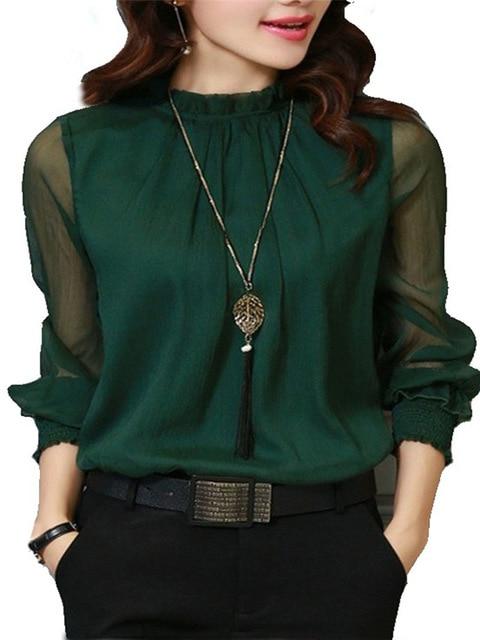 Chiffon Blouse New Women Tops Long Sleeve Stand Neck Work Wear Shirts Elegant Lady Casual Blouses women's blusas Plus size 5
