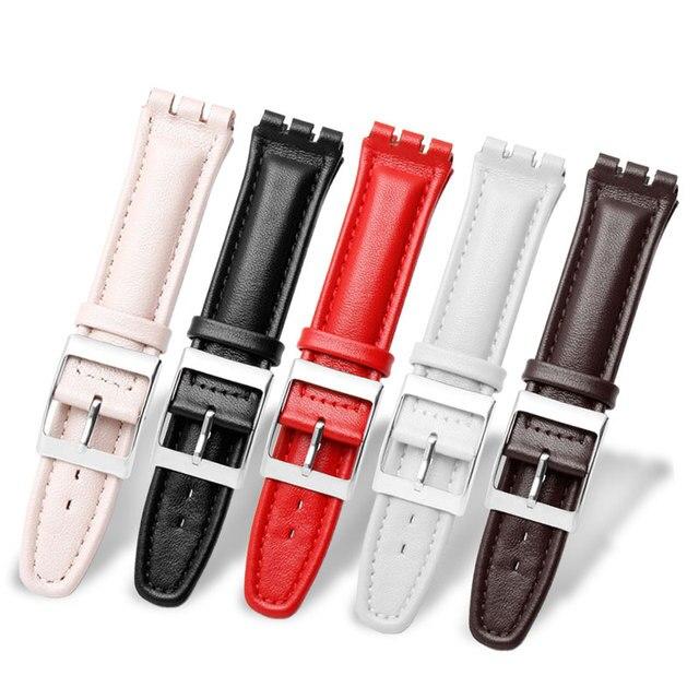 17mm 19mm פרה עור להקת שעון לבן שחור חום אדום ורוד צמיד החלפת רצועת Fit דוגמית YCS YAS YGS
