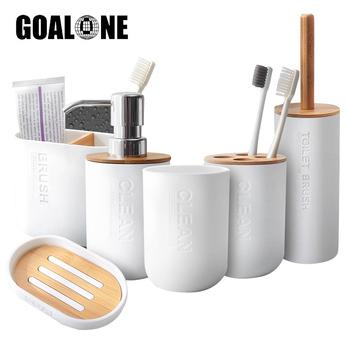 GOALONE Bamboo akcesoria łazienkowe uchwyt na szczoteczki do zębów dozownik do mydła szczotka do wc zestaw łazienkowy dekoracja łazienki akcesoria tanie i dobre opinie CN (pochodzenie) BP1127 Ekologiczne Na stanie ZESTAW z sześcioma sztukami Bathroom accessories set Bamboo Plastic Bamboo Ceramic
