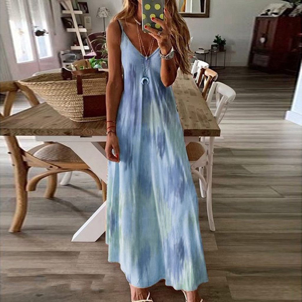 Tie dye Dress Camisole Long Dresses Women Plus Size Summer Dress Sleeveless Gradient Print Tie dyeing