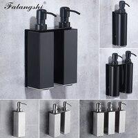Falangshi dispensador de sabão líquido  alta qualidade  preto  acessórios de banheiro  aço inoxidável  304  suporte de parede  sabonete líquido  organizador wb8600
