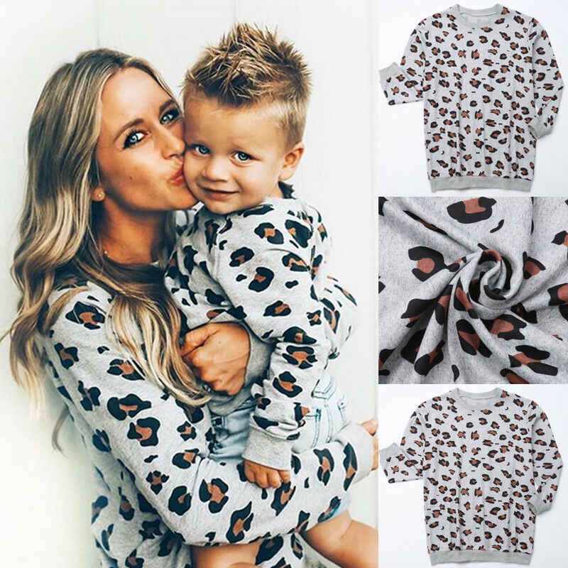 New Autumn Family Matching Outfits Mother Daughter Tops Fashion Leopard Print Casual Loose T Shirt Mom And Baby Kids Sweatshirt