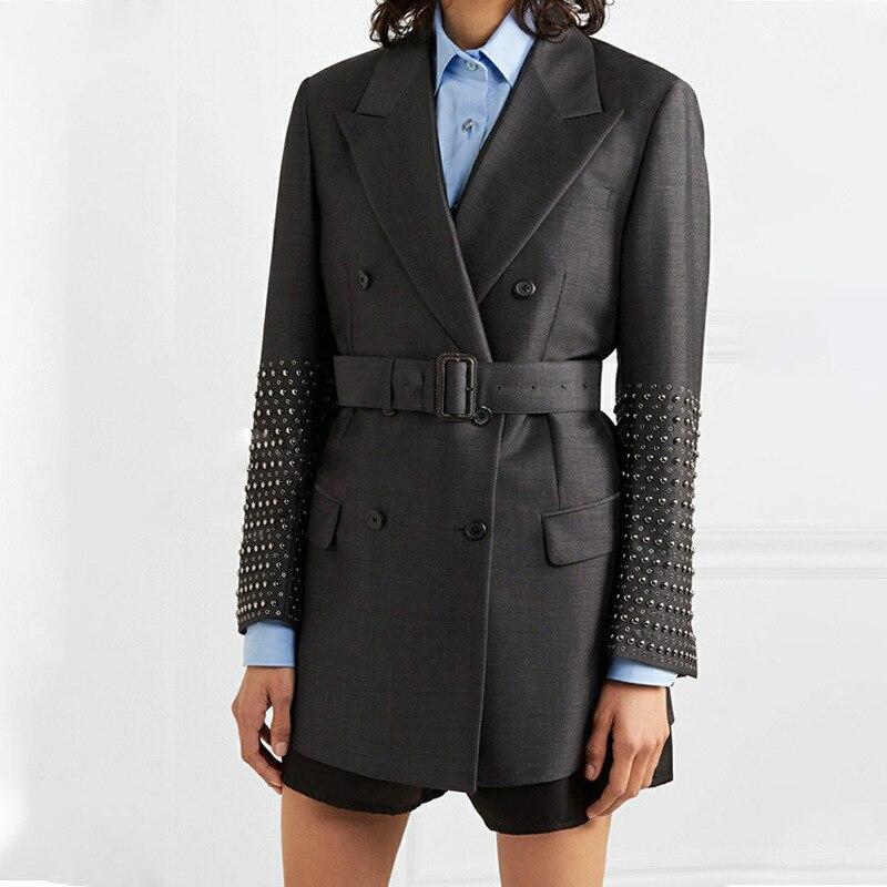 HIGH QUALITY New Fashion 2019 Designer Jacket Women's Lacing Belt Double Breasted Rivet Blazer