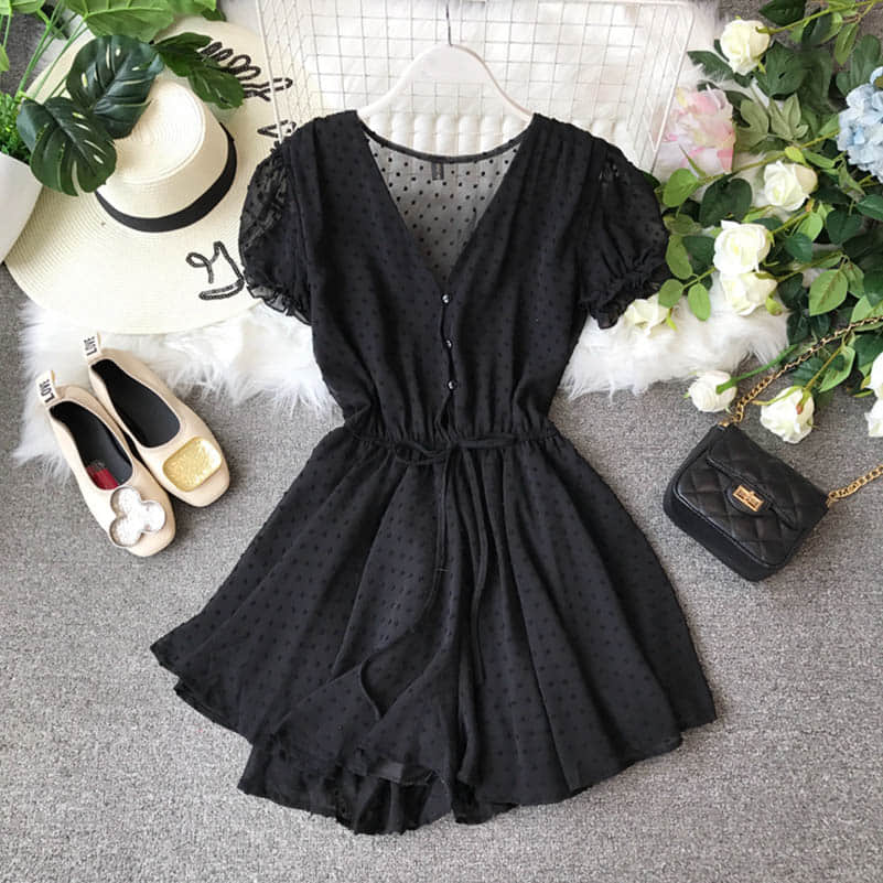 H01db8faced5c4117ac14548b25d55d53K - Candy Color Elegant Jumpsuit Women Summer Latest Style Double Ruffles Slash Neck Rompers Womens Jumpsuit Short Playsuit