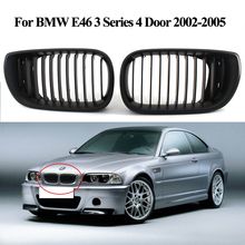 2PCS Gloss Black Kidney Front Grille For BMW E46 3 Series 4 Door 2002-2005 Car Stylling Accessories New Grilles Se23