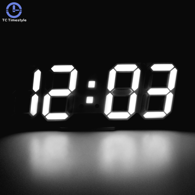 3D LED Digital Wall Clock Display Alarm Clocks Kitchen Office Table Desktop Wall Watch Modern Design 24 Or 12 Hour Display