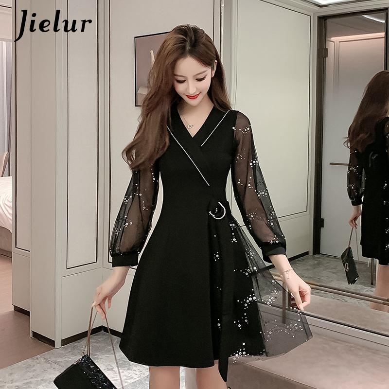 Jielur Mesh Sequins Black Dress Women Korean Midi Belt V-neck Fashion Chic Retro Sweet dress A-Line Slim Party Vestidos Mujer 2