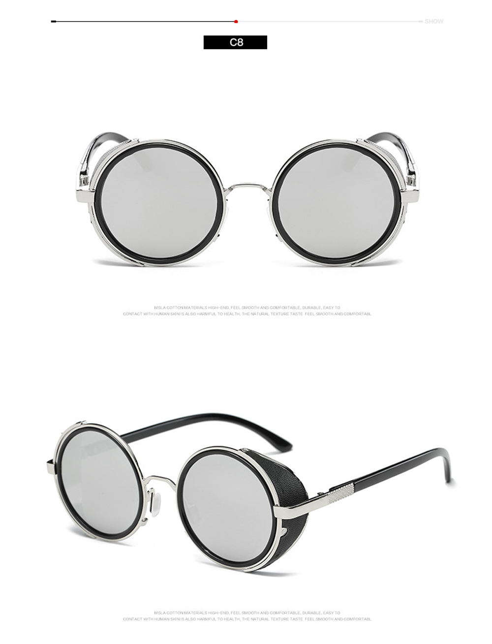 Steampunk Sunglasses Women Round Glasses Goggles Men Side Visor Circle Lens Unisex Vintage Retro Style Punk Oculos De Sol