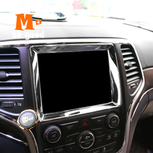 2014 2015 2016 2017 For Jeep Grand Cherokee Car navigation panel Cover Trim Car ABS Chrome interior Styling Accessories Sticker цена 2017