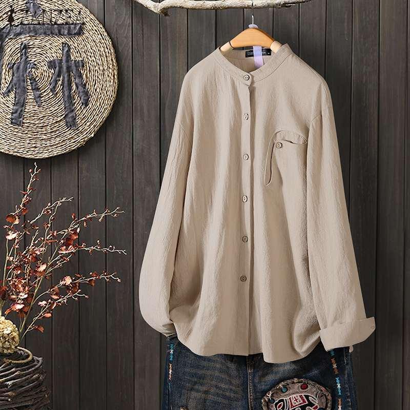 ZANZEA Vintage Women Cotton Linen Blouse Spring Long Sleeve Solid Tunic Tops Casual Loose Buttons Blusas Femininas Work Shirt