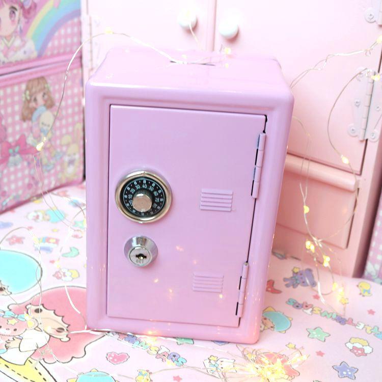 Mini Dormitory Storage Cabinet Modern Ins For Girls Cute Safe Box Pink Decorative Deposit Box Piggy Bank Metal Iron Home Decor