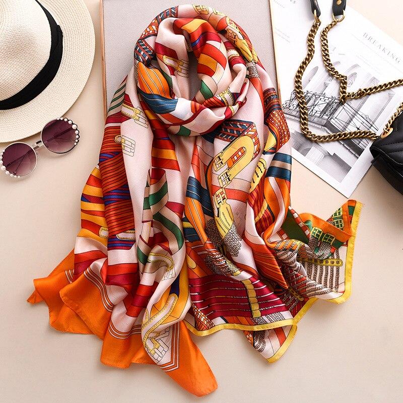 Designer New Brand Silk Scarf Women Smooth Thin Shawls And Wraps Large Pashmina Lady Travel Blanket Scarves Hijab Femme 2020 New