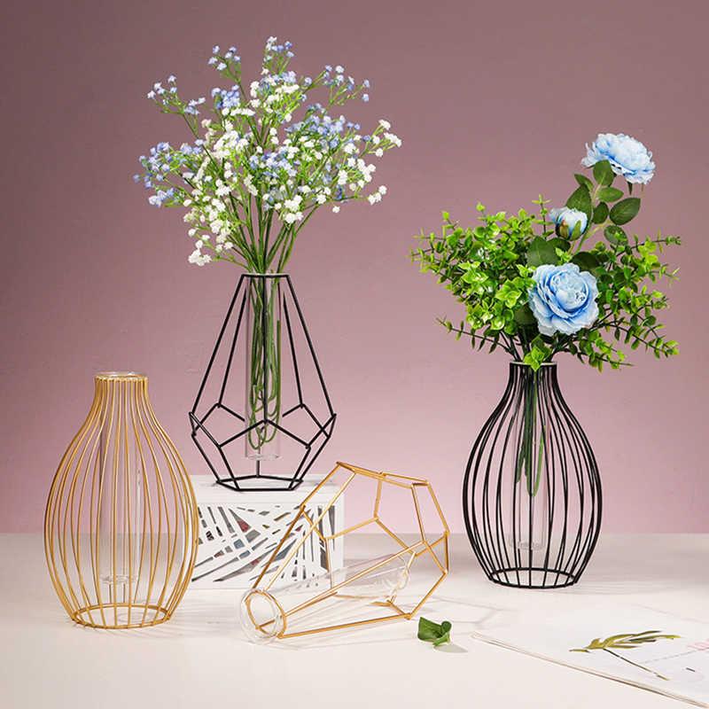 Nordic Simple Golden Vase Geometric Metal Plant Holder Hydroponic Plant Flower Vase Glass Test Tube Terrarium Table Home Decor Vases Aliexpress