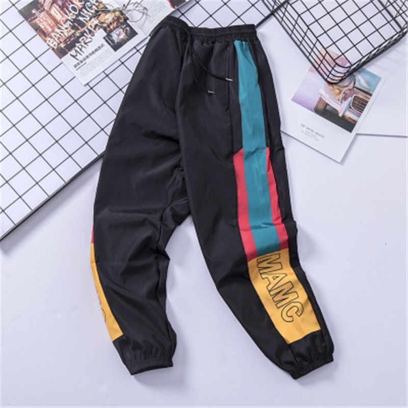 Hip Hop Streetwear Mannen Splice Joggers Broek Mode Mannen Casual Cargo Pant Broek High Street Elastische Taille Harem Broek mannen