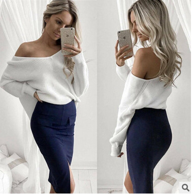 Hot Sale Sexy Oblique Shoulder Top Solid Color Sweater Women's Solid Color Pullovers Sweater