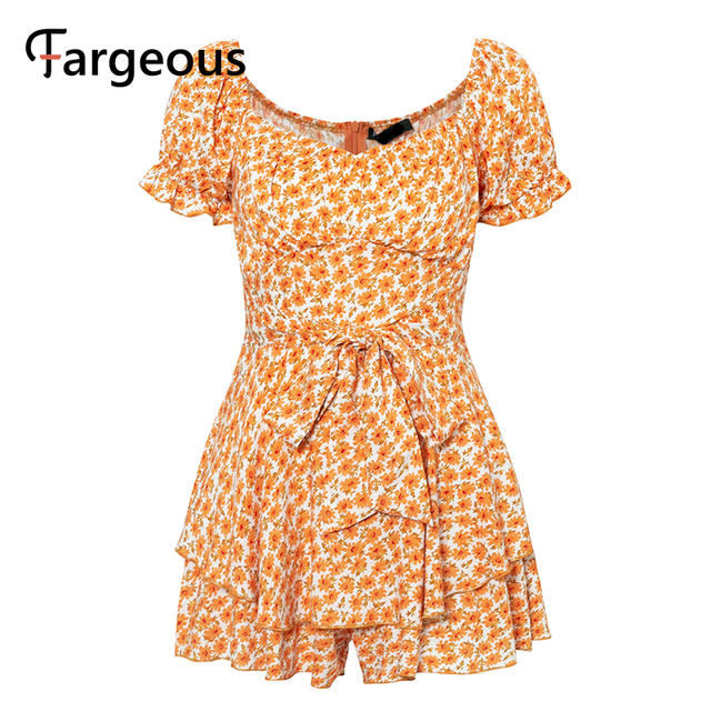 Fargeous Off Shoulder Boho Print Short Jumpsuit 2020 Summer Women Fashion Ruffle High Waist Rompers Girl Beach Holiday Jumpsuit 6