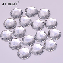JUNAO 6 8 10 12 18 20 30 52 mm Sewing Clear Crystal Acrylic Rhinestones Flatback Sew On AB Crystals Stones for DIY Needlework