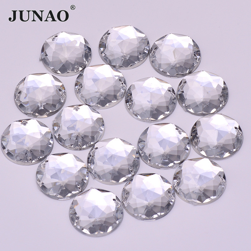 JUNAO 6 8 <font><b>10</b></font> 12 18 20 <font><b>30</b></font> <font><b>52</b></font> mm Sewing Clear Crystal Acrylic Rhinestones Flatback Sew On AB Crystals Stones for DIY Needlework image