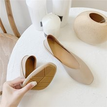 2020 New Flat Square Head Single Shoes Two Wear Shallow Mouth Pregnant Women Gra