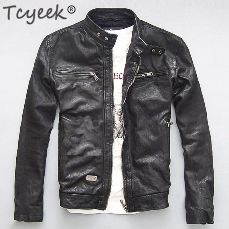 Manteau de motard en cuir pour homme, veste 100% véritable peau de mouton et de chèvre, noir, vêtements d'automne et de printemps
