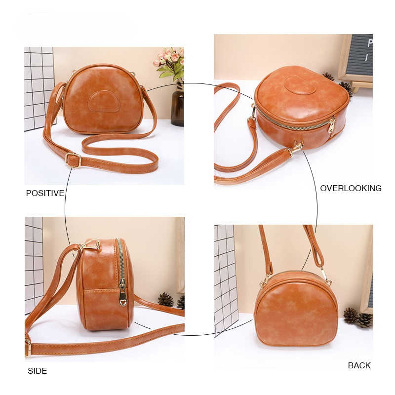 Круглая модная женская сумка через плечо в стиле ретро, Дамский кошелек, однотонная сумочка из искусственной кожи, миниатюрные мессенджеры