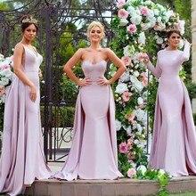 Элегантный розовый с длинным рукавом Русалка платья невесты атласная часовня поезд аппликация блесток фрейлина платья Vestidos