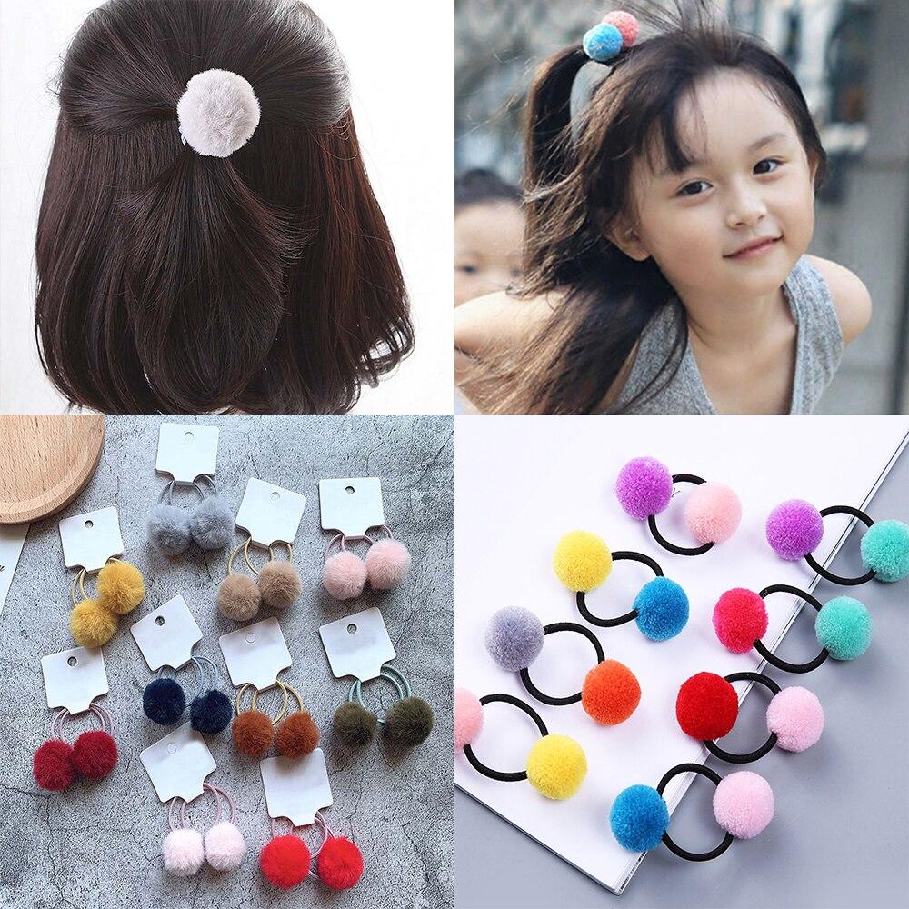 Kids Girls Cute Pom Rabbit Headband Elastic Rope Hair Ties Ponytail Holder Acc