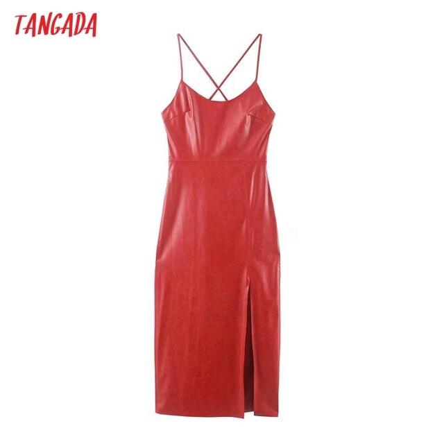 Tangada Women Faux Leather Sexy Dress Sleeveless Backless 2021 Fashion Lady Party Midi Dresses 3H853 1