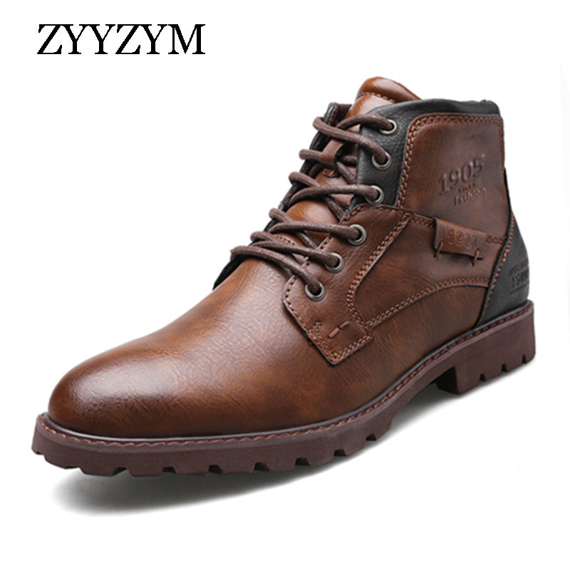 ZYYZYM Men Leather Boots Spring Autumn Vintage Style Tooling Boots Men Zipper Footwear Fashion Casual Shoes Men Botas Hombre