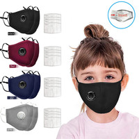 Children Face Mask With Valves + Filters Reusable Dustproof Mask PM2.5 Windproof Foggy Haze Pollution Respirator Large Stock